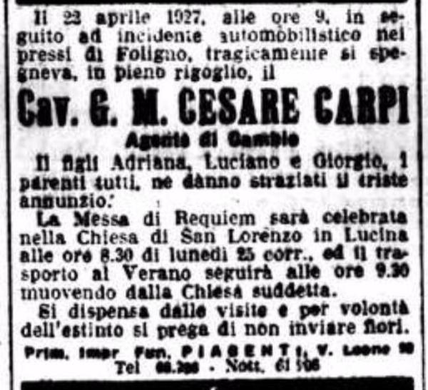 Cesare Carpi morte