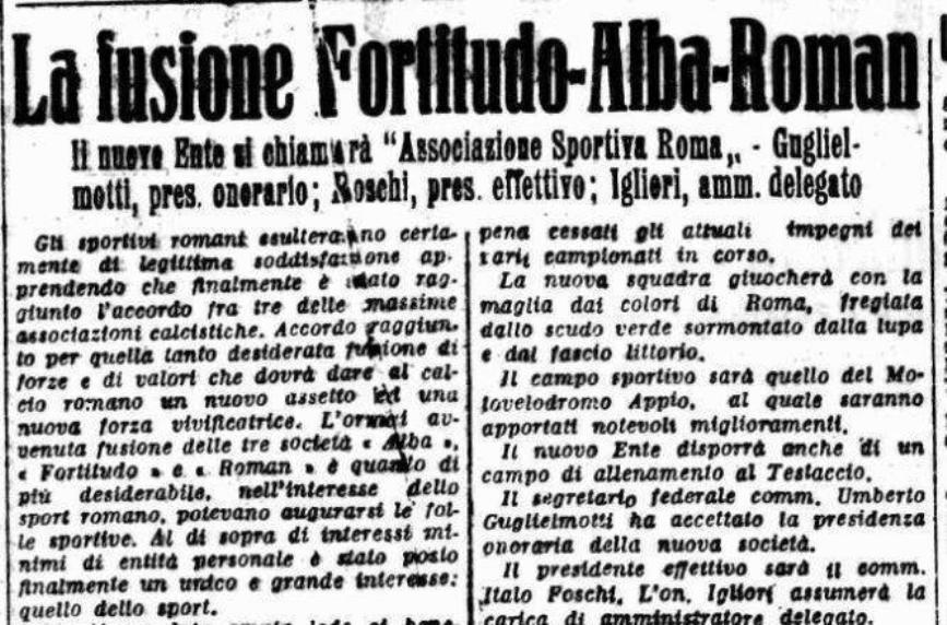 Fondazione Roma giornali quando è nata la Roma