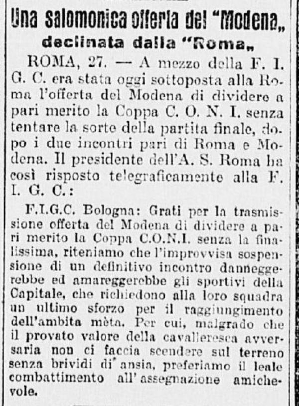 Telegramma Roma Coppa Coni