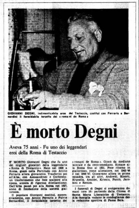 Giovanni Degni morte